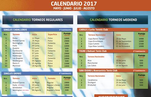 Roland Garros Calendario.Circuito Tenis Calendario 2017 2º Cuatrimestre